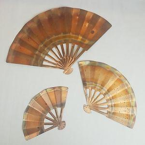 Vintage decorative copper fans